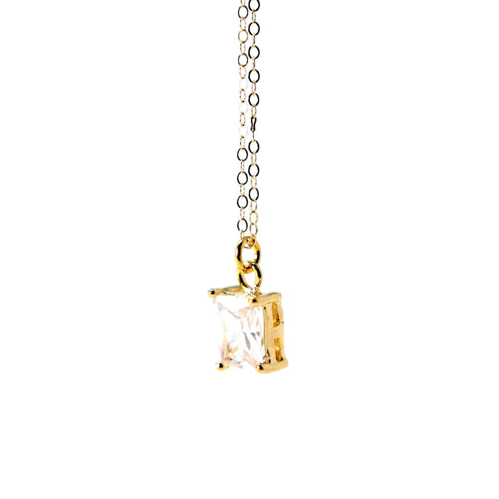 Gold Filled 1 Cubic Zirconia pendant