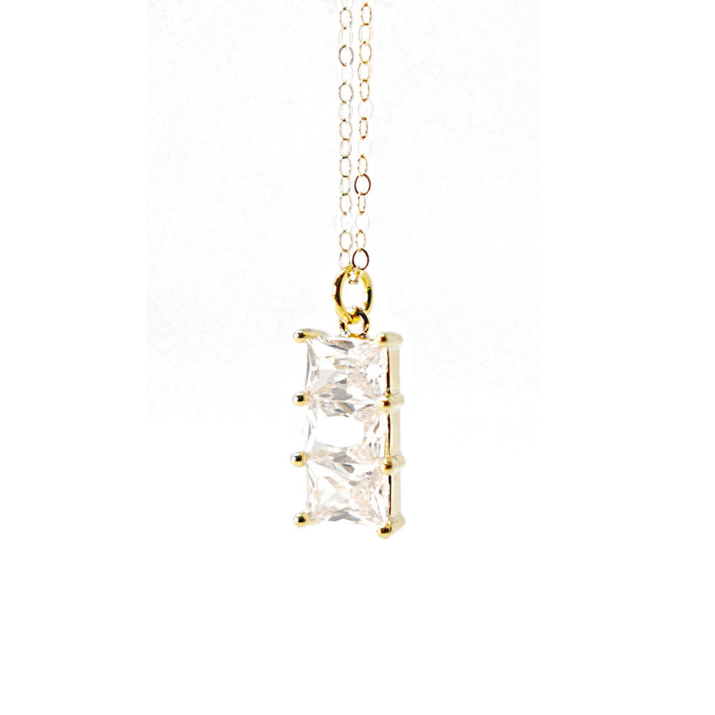 Gold Filled 3 Cubic Zirconia pendant