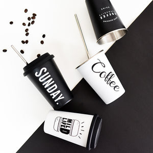 Black & White Travel Coffee Mug