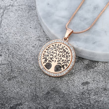 Load image into Gallery viewer, Tree of Life Crystal Round Small Pendant Necklace