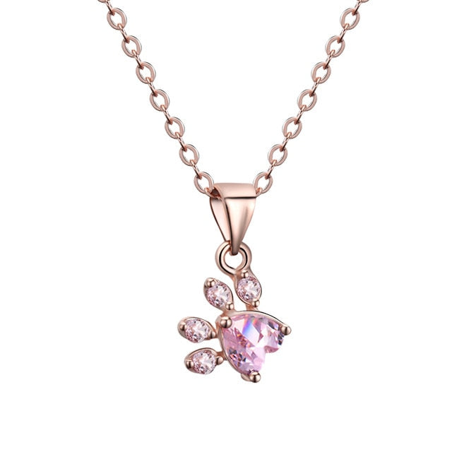 Necklace Paw Rose Gold Pendants Chain Necklace
