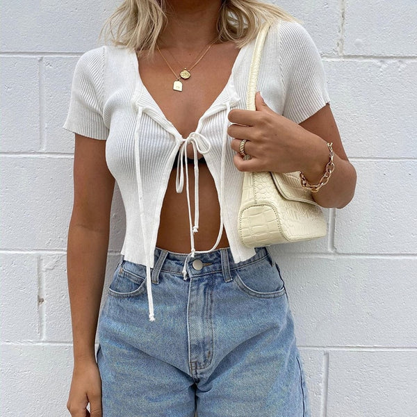 Lace-Up Front Split Short Sleeve Top