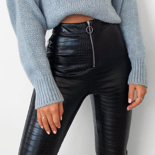 High Waist Vegan Leather Zip Pants