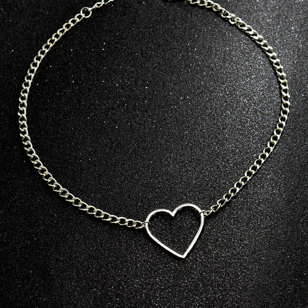 Heart Shape Silver Chain Choker