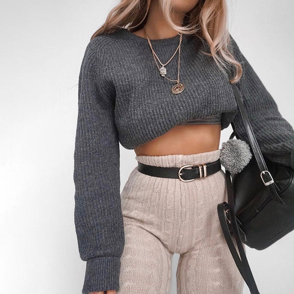 Gray Knitted Crop Sweater