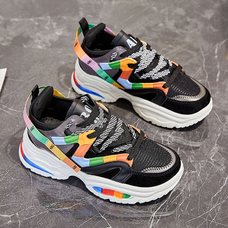 Colorful Women Running Shoes Big Sole
