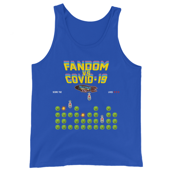 SPECIAL EDITION: Fandom vs Covid-19 - A Space Invader Themed Unisex Tank Top in True Royal Blue