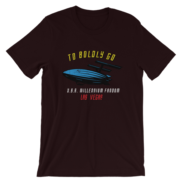 "To Boldly Go - A Star Trek Themed Short-Sleeve Unisex T-Shirt in Oxblood Balck with text ""To Boldly Go, U.S.S Millennium Fandom, Las Vegas"""