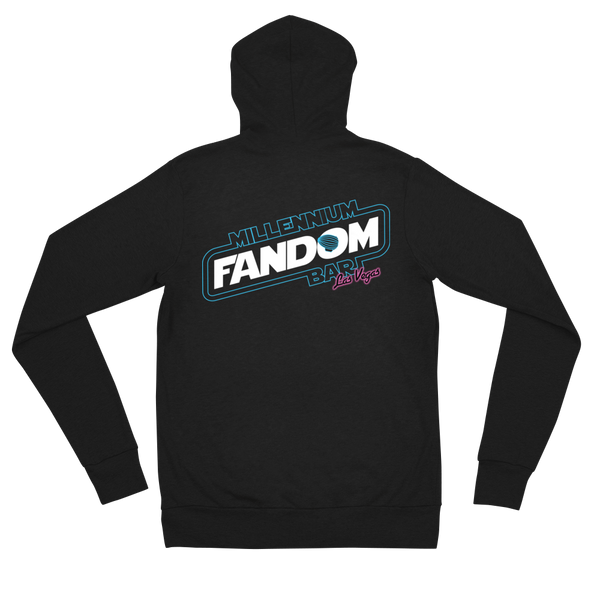 "Fandom Wars - A Star Wars Themed Unisex Zip Hoodie in Black back side with text ""Millennium Fandom Bar, Las Vegas"""