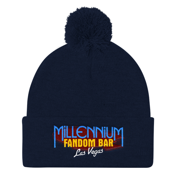 MFB Pom Pom Knit Cap in Navy with the Millennium Fandom Bar Logo