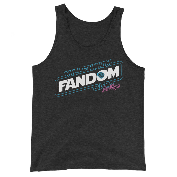 "Fandom Wars - A Star Wars Themed Unisex Tank Top in Charcoal-Black with text ""Millennium Fandom Bar, Las Vegas"""
