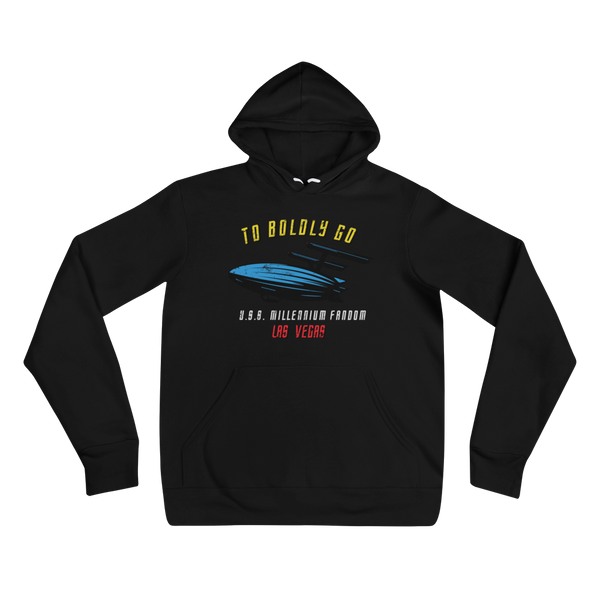 "To Boldly Go - A Star Trek Themed Unisex Hoodie in Black text ""To Boldly Go, U.S.S Millennium Fandom, Las Vegas"""
