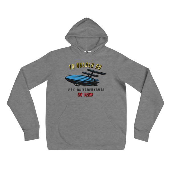 "To Boldly Go - A Star Trek Themed Unisex Hoodie in Deep Heather Grey text ""To Boldly Go, U.S.S Millennium Fandom, Las Vegas"""