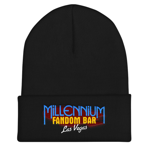 MFB Cuffed Beanie in Black with the Millennium Fandom Bar Logo