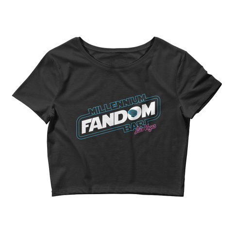 "Fandom Wars - A Star Wars Themed Women's Crop T-Shirt in Black with text ""Millennium Fandom Bar, Las Vegas"""