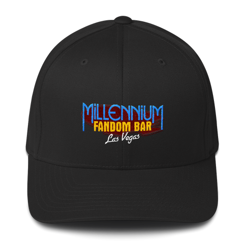 MFB Structured Twill Cap in Black with the Millennium Fandom Bar Logo