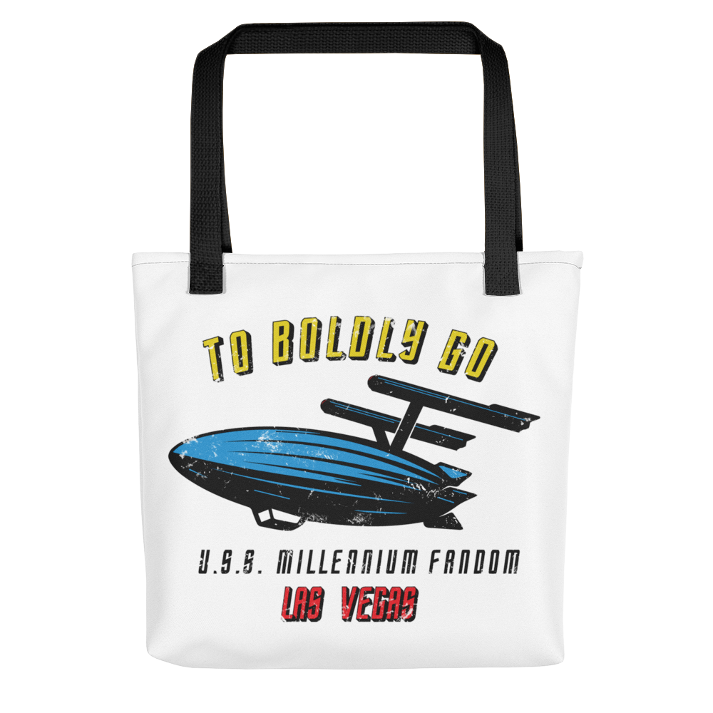 "To Boldly Go - A Star Trek Themed Tote Bag with Black Handle and text ""To Boldly Go, U.S.S Millennium Fandom, Las Vegas"""