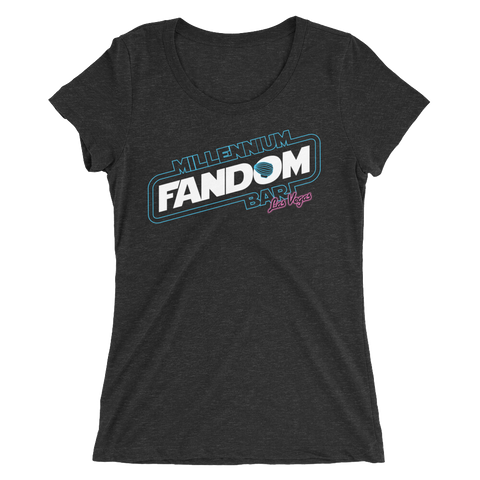 "Fandom Wars - A Star Wars Themed Ladies' Short-Sleeve T-Shirt in Charcoal-Black Triblend ""Millennium Fandom Bar, Las Vegas"""
