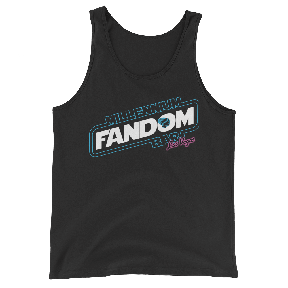 "Fandom Wars - A Star Wars Themed Unisex Tank Top in Black with text ""Millennium Fandom Bar, Las Vegas"""