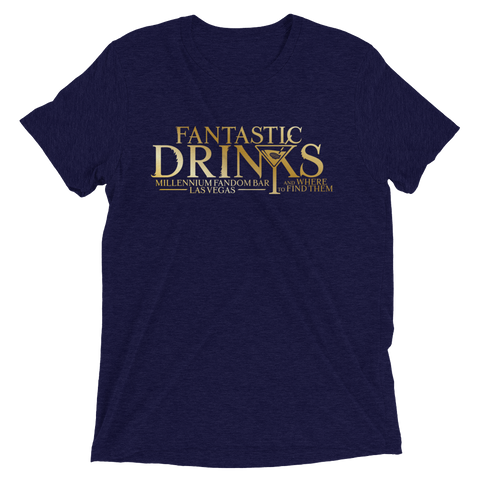 Fantastic Drinks And Where To Find Them - A Harry Potter Themed Short-Sleeve T-Shirt Tri-Blend in Navy