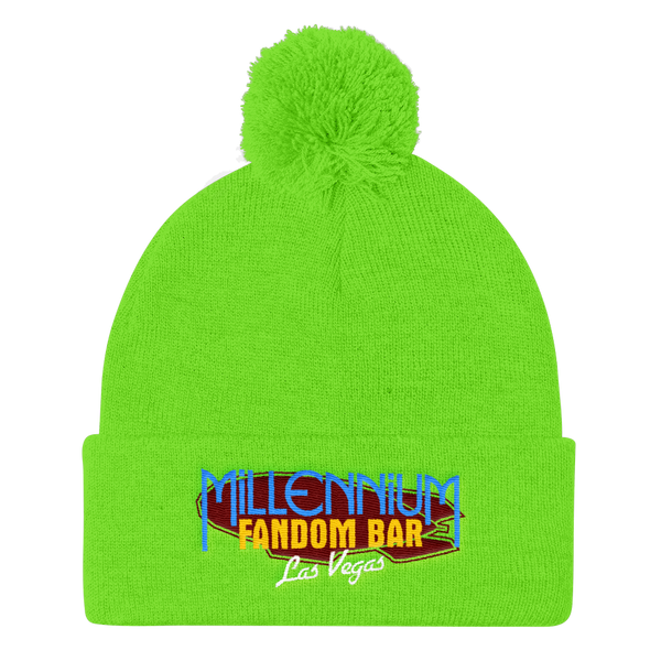 MFB Pom Pom Knit Cap in Neon Green with the Millennium Fandom Bar Logo