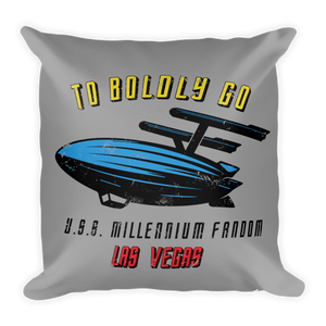 "To Boldly Go - A Star Trek Themed Basic Pillow in Light Grey with text ""To Boldly Go, U.S.S Millennium Fandom, Las Vegas"""