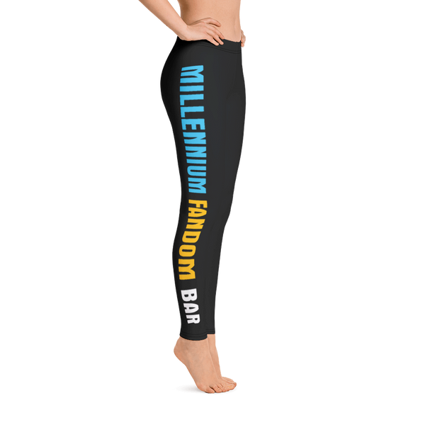 MFB Sports Leggings in Black with the Millennium Fandom Bar Logo Sideways
