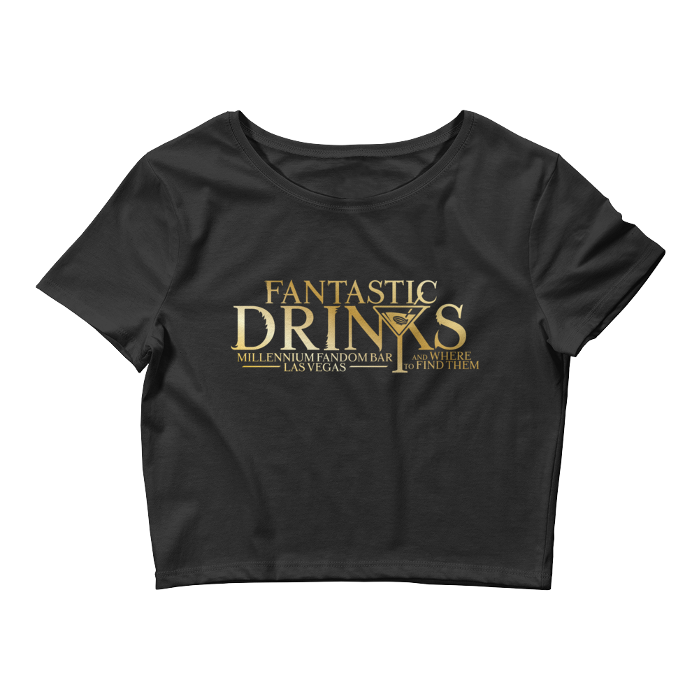 Fantastic Drinks And Where To Find Them - A Harry Potter Themed Women's Crop Tee in Black