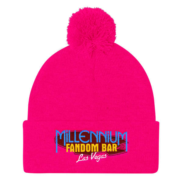 MFB Pom Pom Knit Cap in Neon Pink with the Millennium Fandom Bar Logo