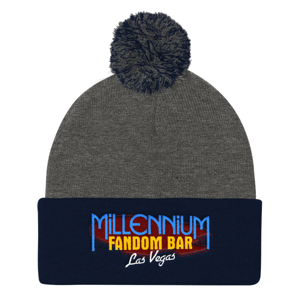 MFB Pom Pom Knit Cap in Grey and Navy with the Millennium Fandom Bar Logo