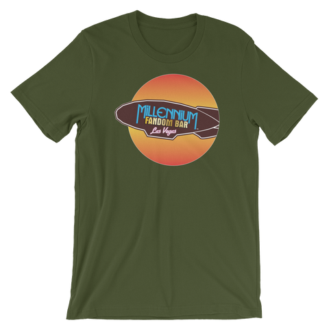 MFB Wormhole - Short-Sleeve Unisex T-Shirt in Olive with the Millennium Fandom Bar Logo