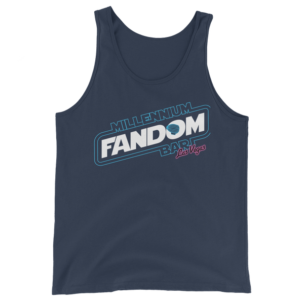 "Fandom Wars - A Star Wars Themed Unisex Tank Top in Navy with text ""Millennium Fandom Bar, Las Vegas"""