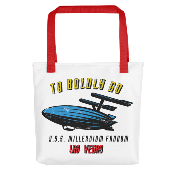 "To Boldly Go - A Star Trek Themed Tote Bag with Red Handle and text ""To Boldly Go, U.S.S Millennium Fandom, Las Vegas"""