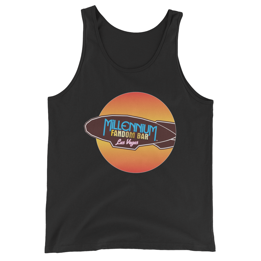 MFB Wormhole - Unisex Tank Top in Charcoal-Black with the Millennium Fandom Bar Logo Tri-Blend