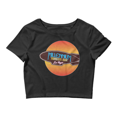 MFB Wormhole - Women's Crop T-Shirt in Black with the Millennium Fandom Bar Logo
