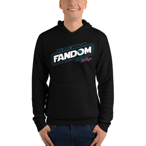 "Fandom Wars - A Star Wars Themed Unisex Hoodie in Black with text ""Millennium Fandom Bar, Las Vegas"""