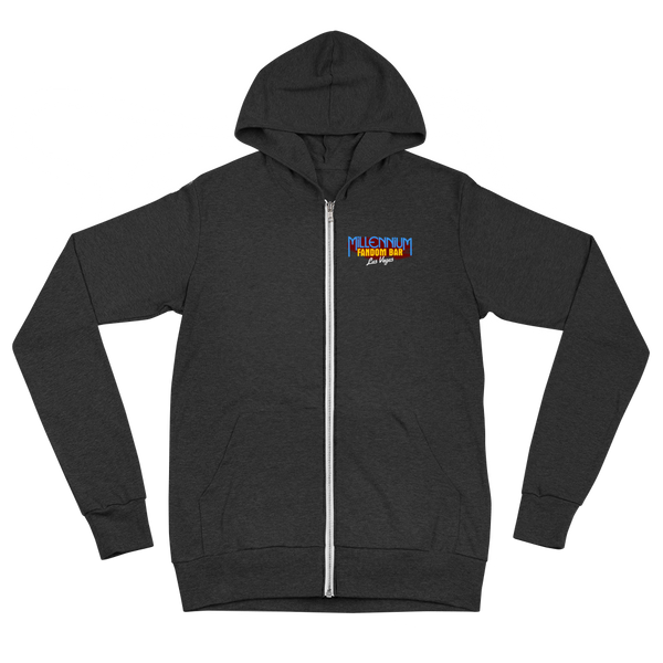 "To Boldly Go - A Star Trek Themed Unisex Zip Hoodie Front Side in Charcoal-Black with text ""To Boldly Go, U.S.S Millennium Fandom, Las Vegas"""