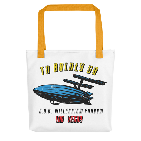 "To Boldly Go - A Star Trek Themed Tote Bag with Yellow Handle and text ""To Boldly Go, U.S.S Millennium Fandom, Las Vegas"""
