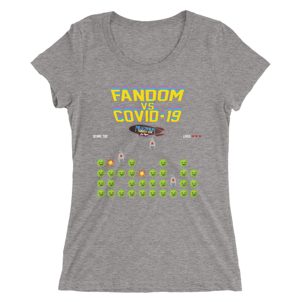 SPECIAL EDITION: Fandom vs Covid-19 - A Space Invader Themed Ladies' short sleeve t-shirt in Light Grey Triblend