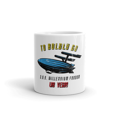 "To Boldly Go - A Star Trek Themed Mug 11oz  in White with text ""To Boldly Go, U.S.S Millennium Fandom, Las Vegas"""