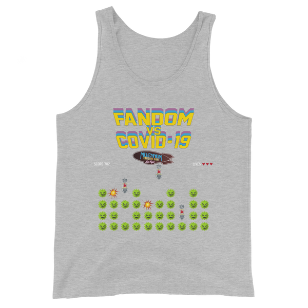 SPECIAL EDITION: Fandom vs Covid-19 - A Space Invader Themed Unisex Tank Top in True Heather Light Grey