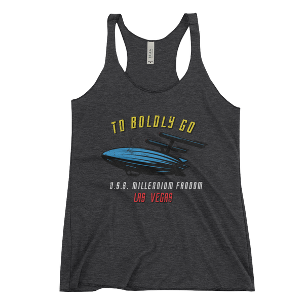 "To Boldly Go - A Star Trek Themed Women's Racerback Tank Tri-Blend in Charcoal-Black with text ""To Boldly Go, U.S.S Millennium Fandom, Las Vegas"""