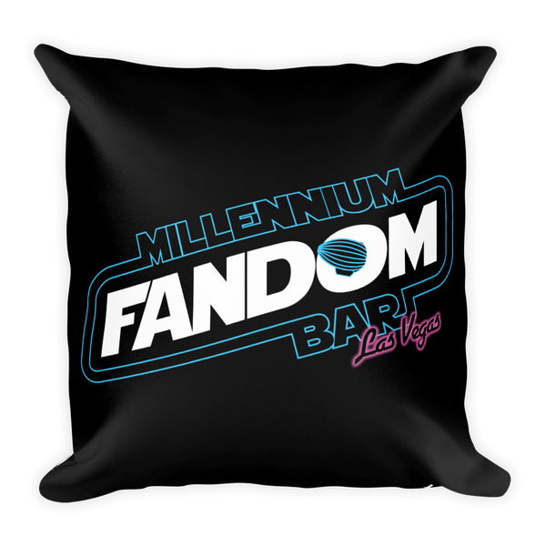 "Fandom Wars - A Star Wars Themed Basic Pillow in Black with text ""Millennium Fandom Bar, Las Vegas"""