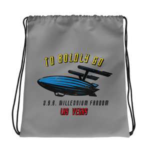 "To Boldly Go - A Star Trek Themed Drawstring Bag in Light Grey with text ""To Boldly Go, U.S.S Millennium Fandom, Las Vegas"""