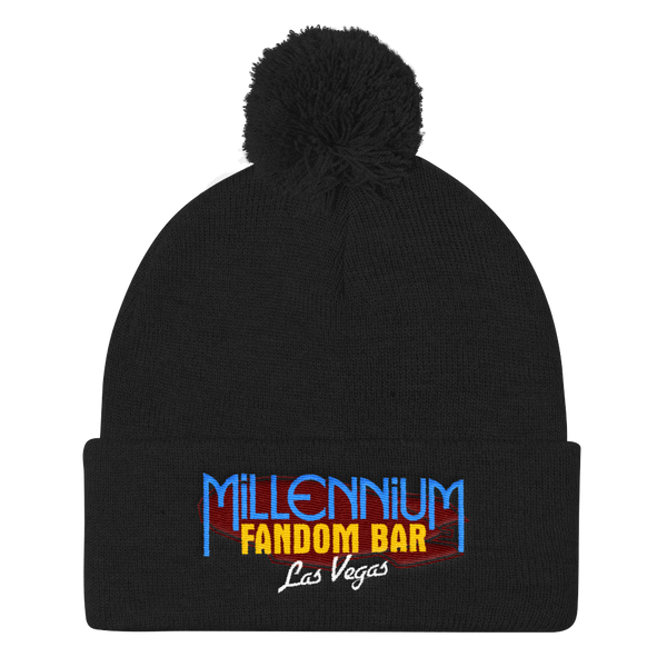 MFB Pom Pom Knit Cap in Black with the Millennium Fandom Bar Logo