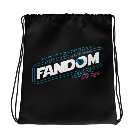 "Fandom Wars - A Star Wars Themed Drawstring bag in Black with text ""Millennium Fandom Bar, Las Vegas"""