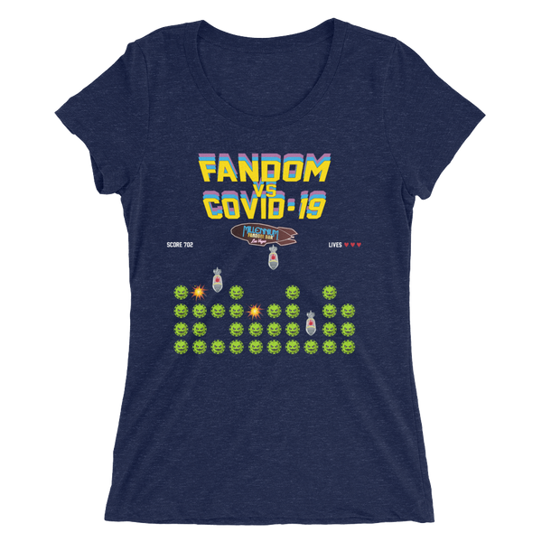 SPECIAL EDITION: Fandom vs Covid-19 - A Space Invader Themed Ladies' short sleeve t-shirt in Navy Blue Triblend