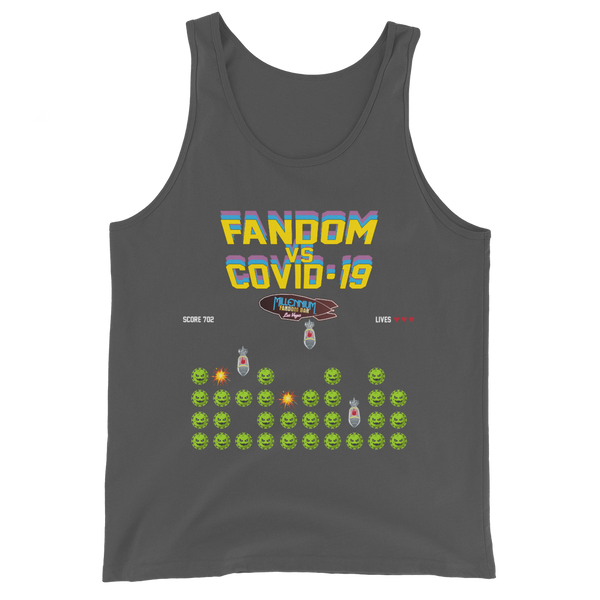 SPECIAL EDITION: Fandom vs Covid-19 - A Space Invader Themed Unisex Tank Top in Asphalt