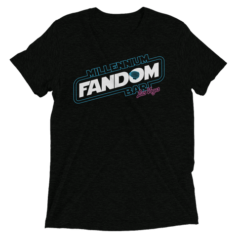 "Fandom Wars - A Star Wars Themed Short-Sleeve T-Shirt in Solid Black Triblend ""Millennium Fandom Bar, Las Vegas"""
