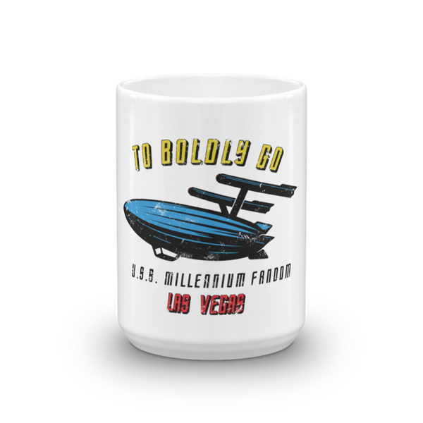 "To Boldly Go - A Star Trek Themed Mug 15oz in White with text ""To Boldly Go, U.S.S Millennium Fandom, Las Vegas"""